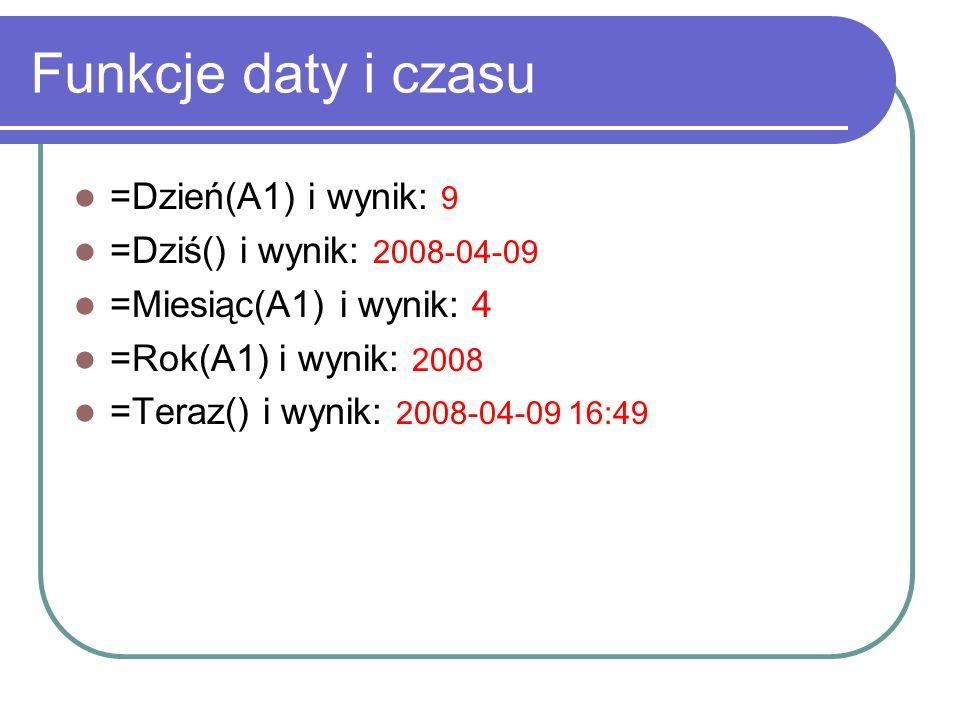 Funkcje daty i czasu =Dzień(A1) i wynik: 9 =Dziś() i wynik: 2008-04-09