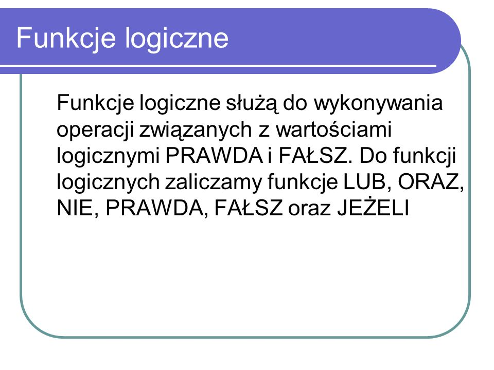Funkcje logiczne