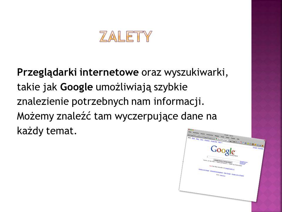 zalety Przeglądarki internetowe oraz wyszukiwarki,