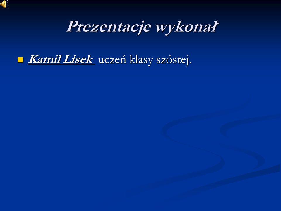 Prezentacje wykonał Kamil Lisek uczeń klasy szóstej.