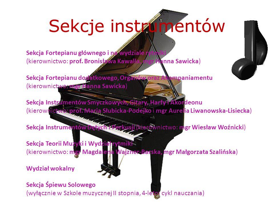 Sekcje instrumentów Sekcja Fortepianu głównego i na wydziale rytmiki