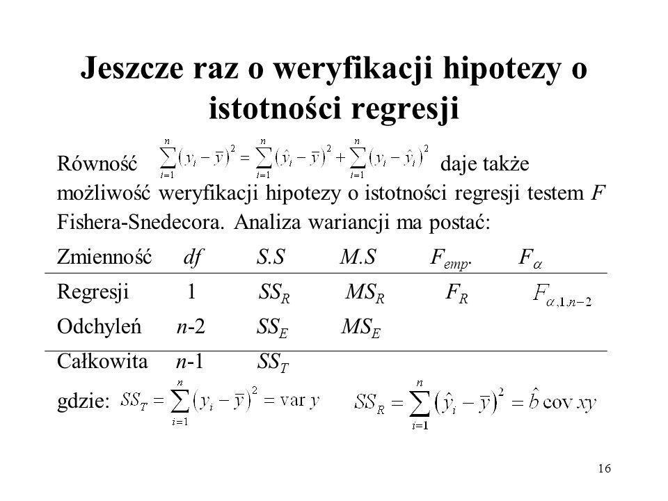 Jeszcze raz o weryfikacji hipotezy o istotności regresji