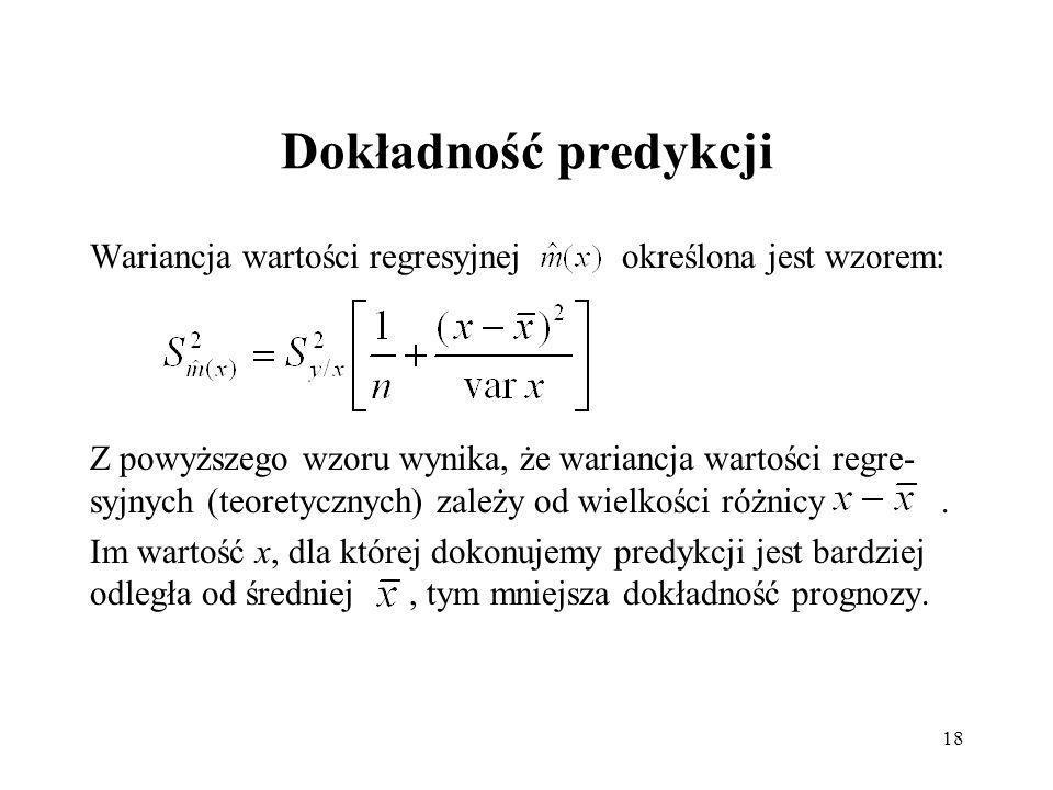 Dokładność predykcji Wariancja wartości regresyjnej określona jest wzorem: