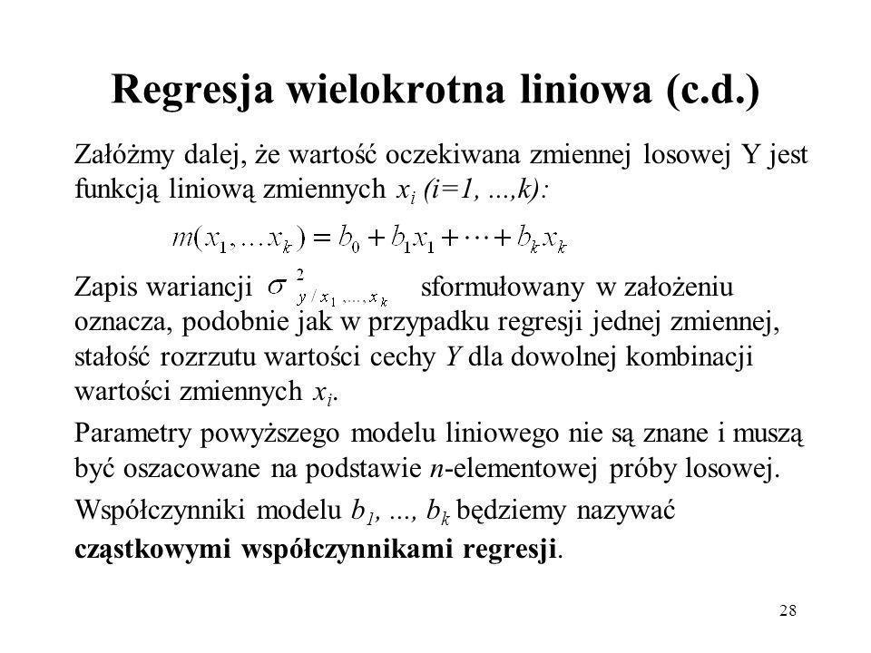 Regresja wielokrotna liniowa (c.d.)