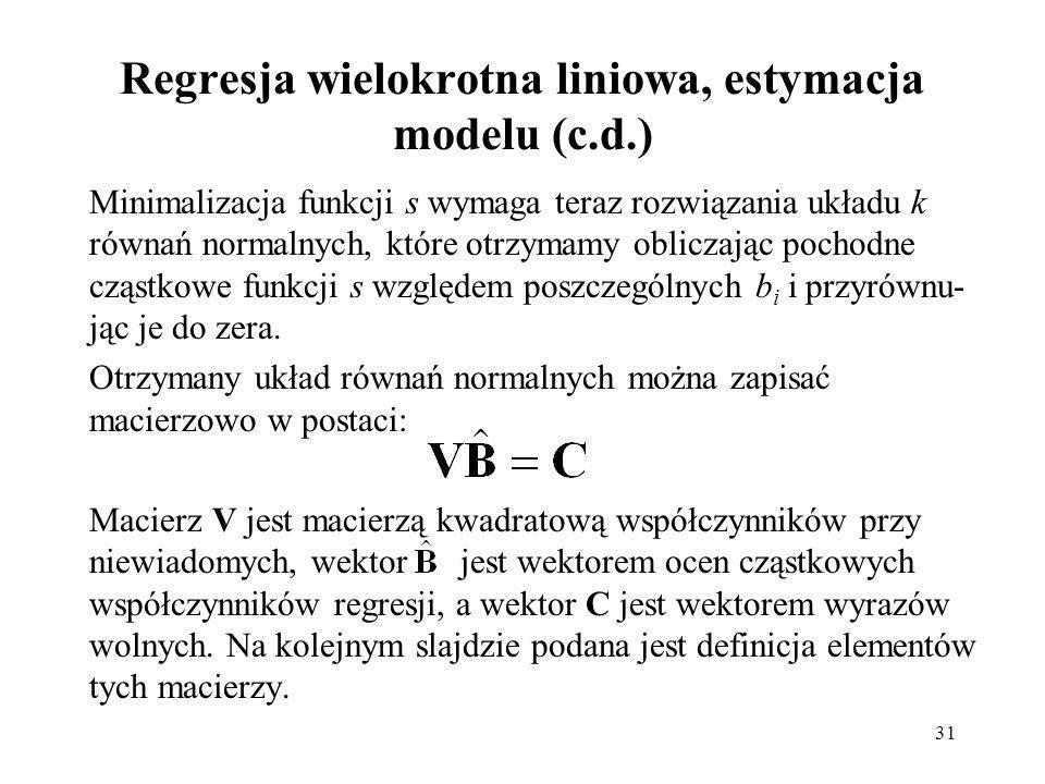 Regresja wielokrotna liniowa, estymacja modelu (c.d.)