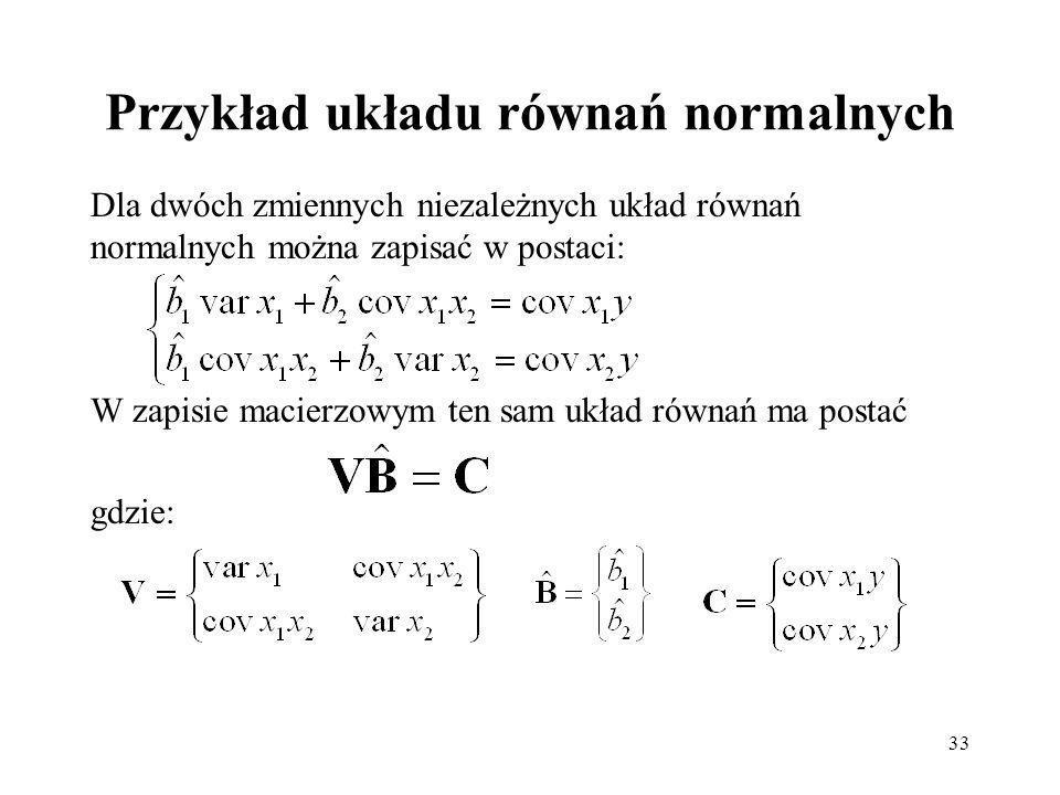 Przykład układu równań normalnych