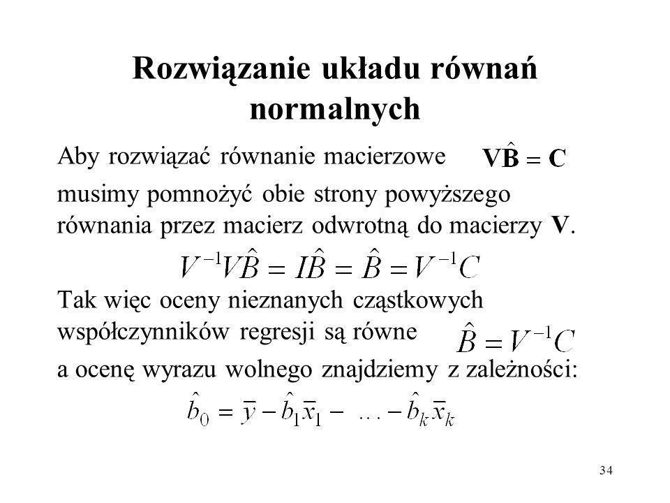 Rozwiązanie układu równań normalnych
