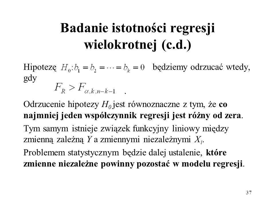 Badanie istotności regresji wielokrotnej (c.d.)