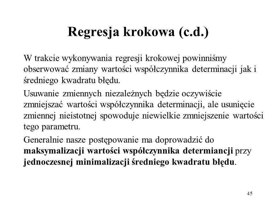 Regresja krokowa (c.d.)