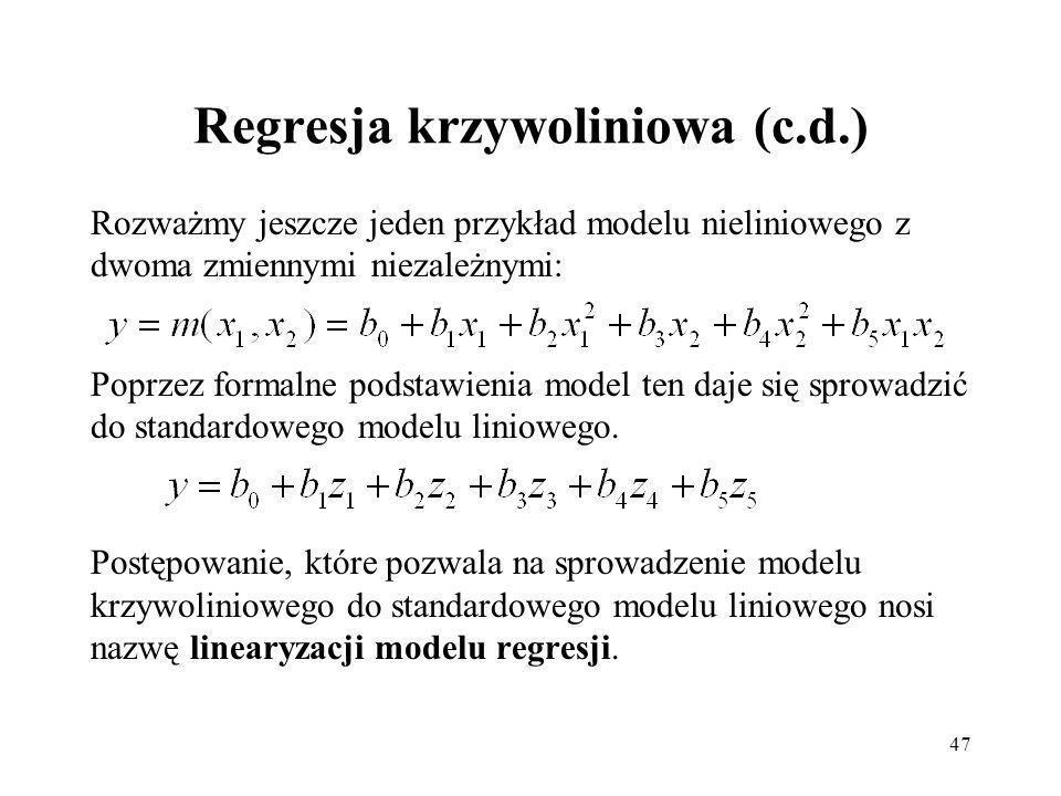 Regresja krzywoliniowa (c.d.)