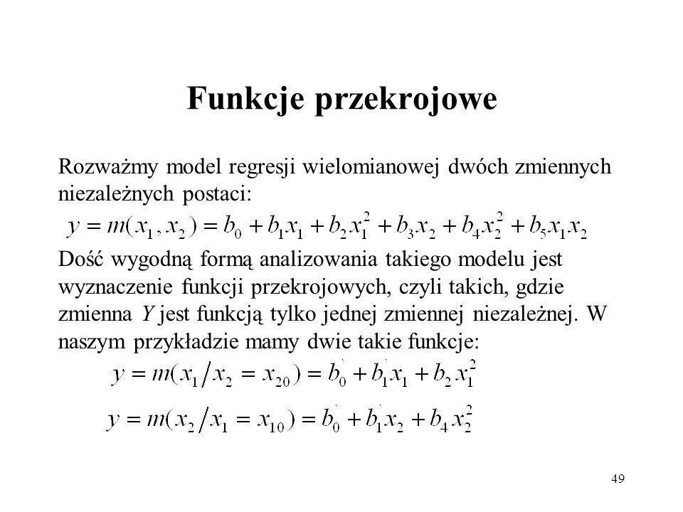 Funkcje przekrojowe Rozważmy model regresji wielomianowej dwóch zmiennych niezależnych postaci: