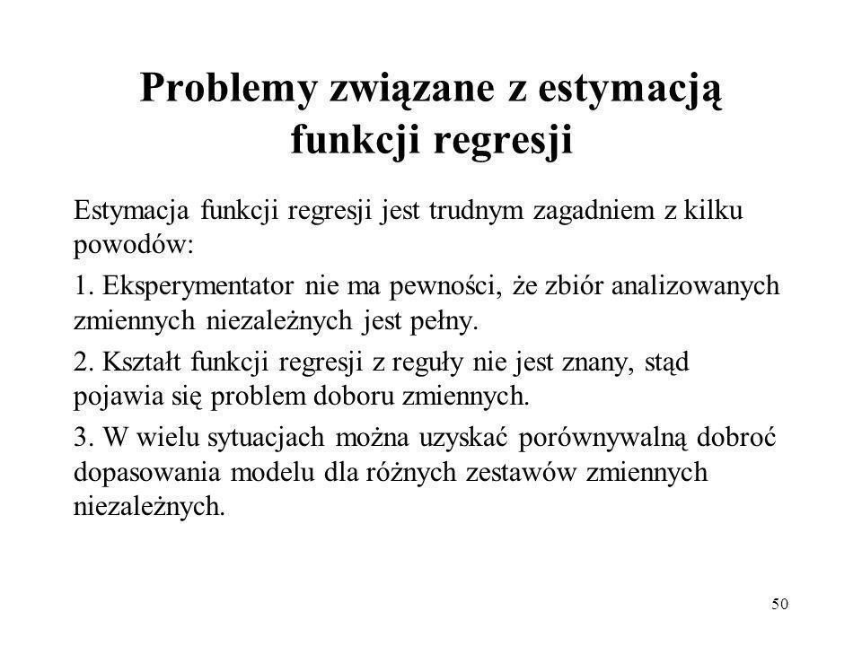 Problemy związane z estymacją funkcji regresji