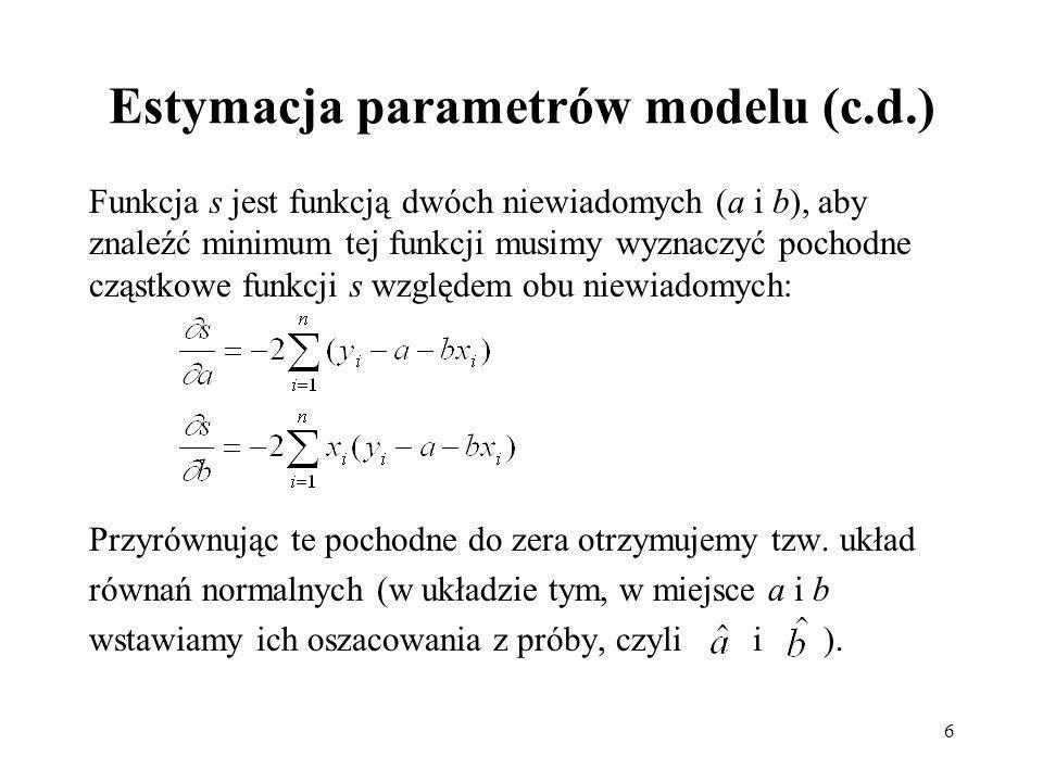 Estymacja parametrów modelu (c.d.)