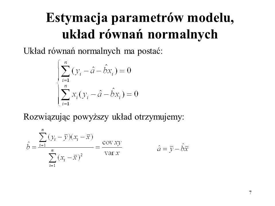 Estymacja parametrów modelu, układ równań normalnych