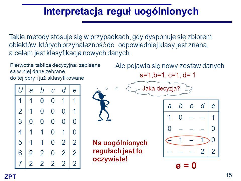 Interpretacja reguł uogólnionych