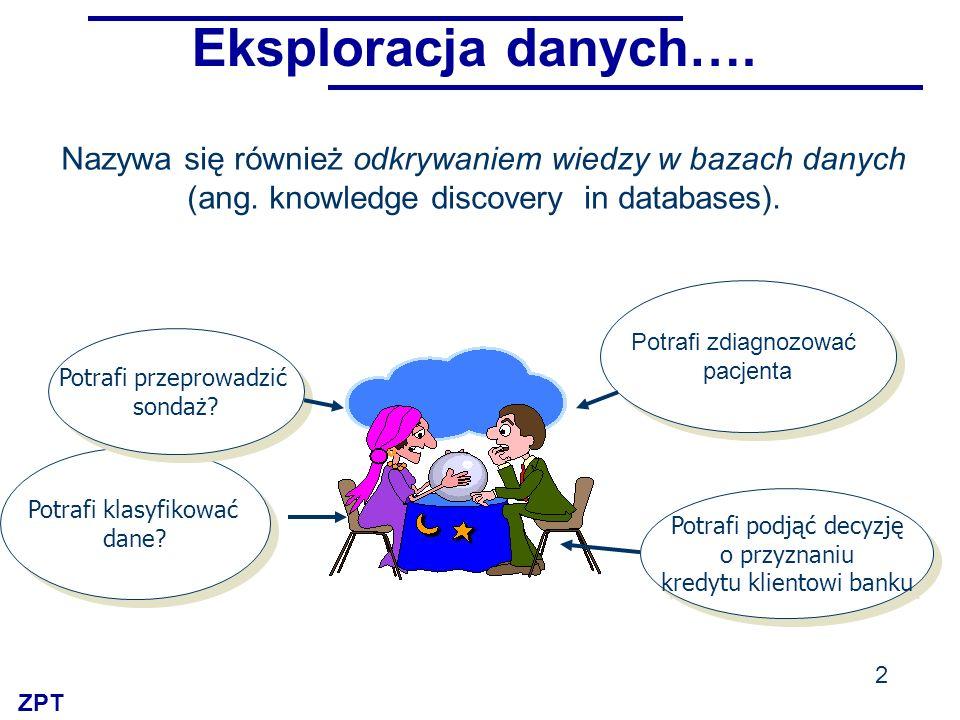Eksploracja danych…. Nazywa się również odkrywaniem wiedzy w bazach danych. (ang. knowledge discovery in databases).