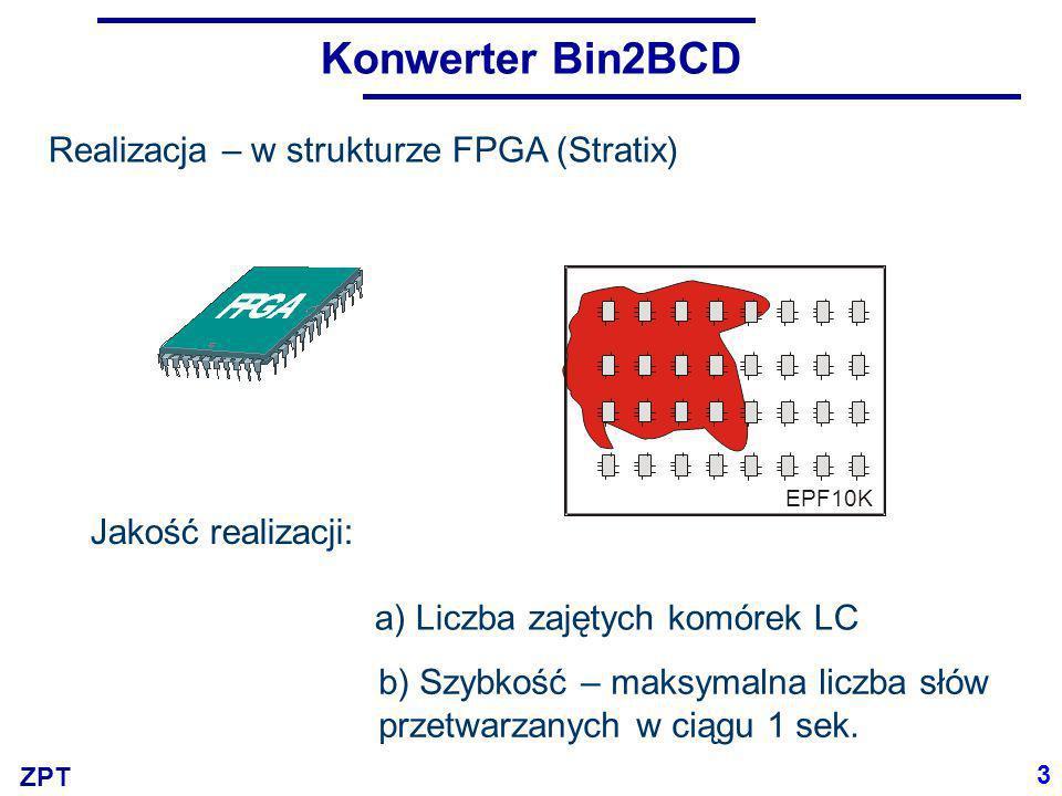 Konwerter Bin2BCD Realizacja – w strukturze FPGA (Stratix)