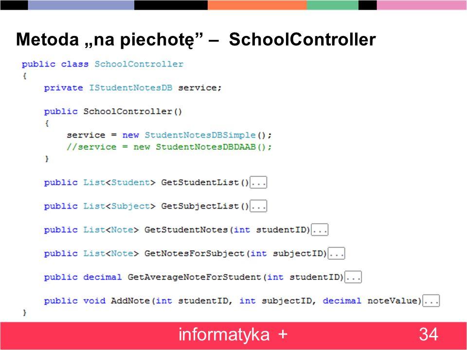 "Metoda ""na piechotę – SchoolController"