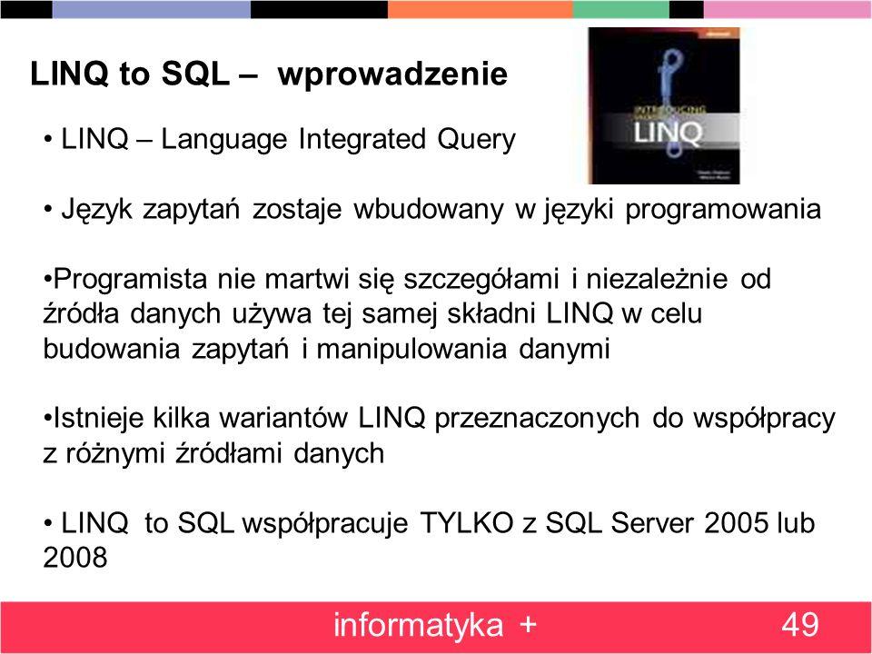 LINQ to SQL – wprowadzenie