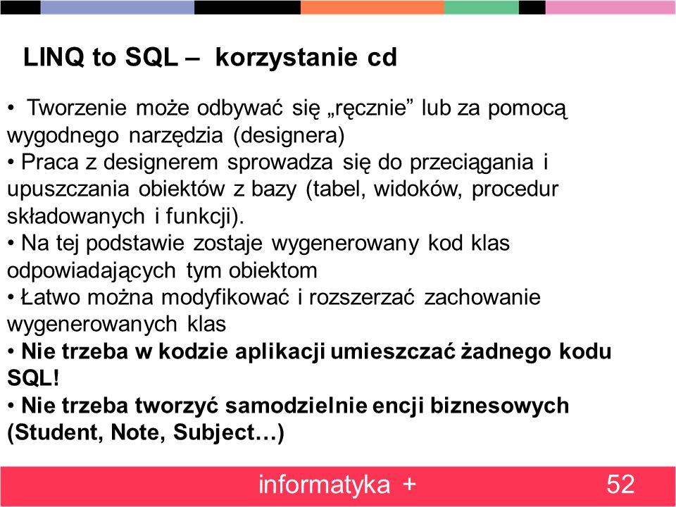 LINQ to SQL – korzystanie cd