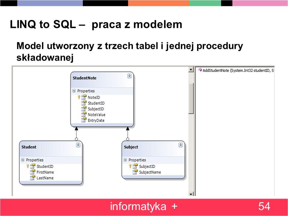 LINQ to SQL – praca z modelem