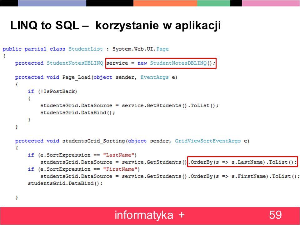 LINQ to SQL – korzystanie w aplikacji