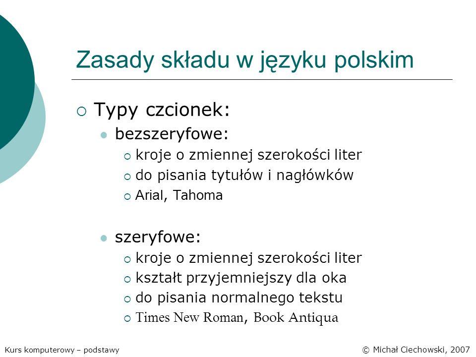 Zasady składu w języku polskim