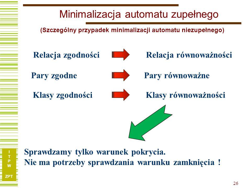 Minimalizacja automatu zupełnego