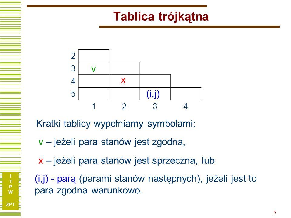 Tablica trójkątna v x (i,j) Kratki tablicy wypełniamy symbolami: