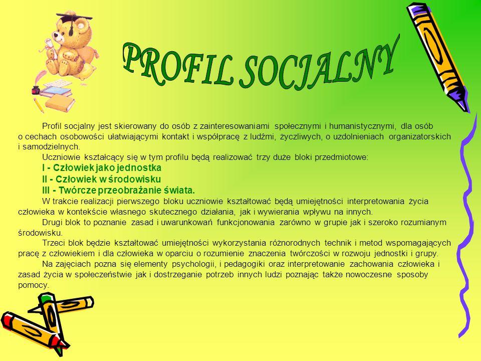 PROFIL SOCJALNY I - Człowiek jako jednostka II - Człowiek w środowisku