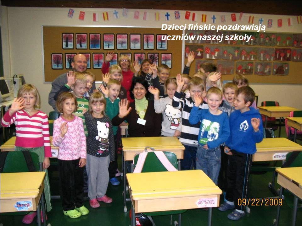 Dzieci fińskie pozdrawiają uczniów naszej szkoły.