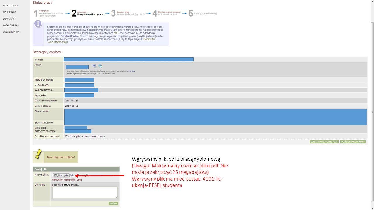 Wgrywamy plik .pdf z pracą dyplomową.