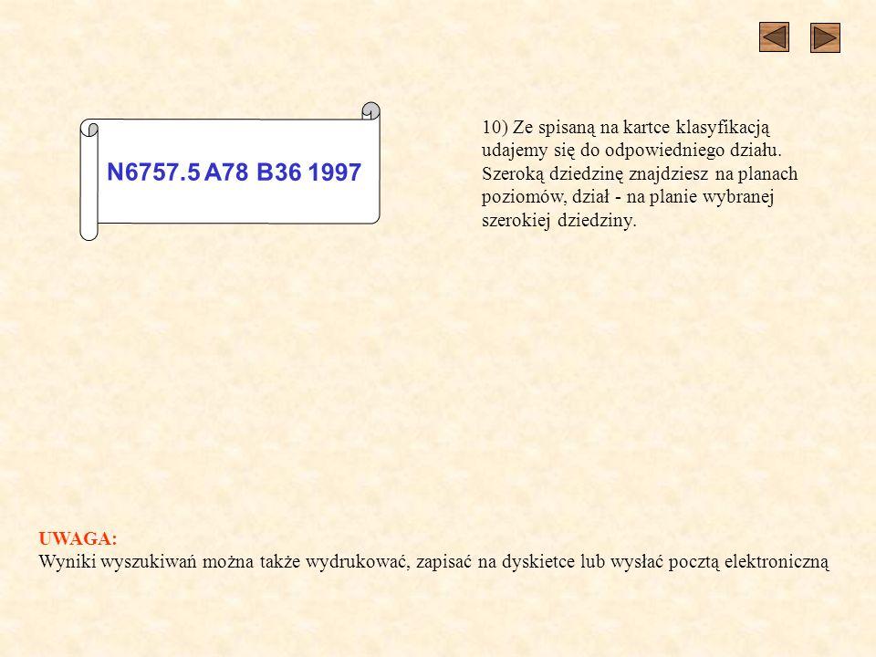 N6757.5 A78 B36 1997 10) Ze spisaną na kartce klasyfikacją