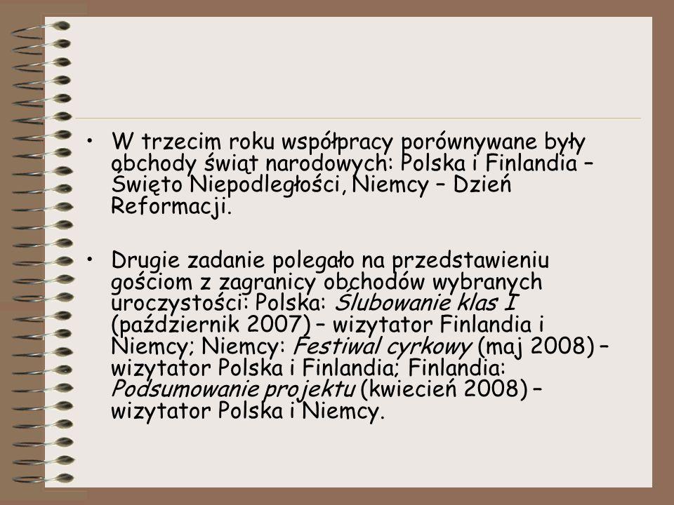 W trzecim roku współpracy porównywane były obchody świąt narodowych: Polska i Finlandia – Święto Niepodległości, Niemcy – Dzień Reformacji.