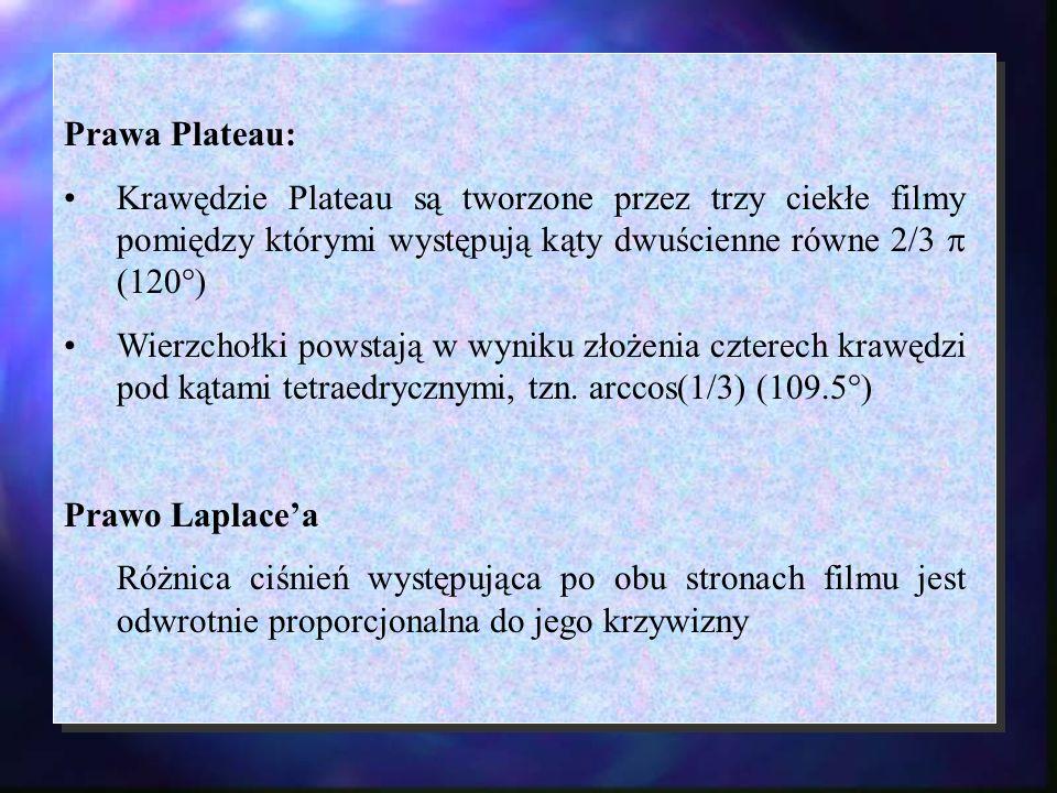 Prawa Plateau:Krawędzie Plateau są tworzone przez trzy ciekłe filmy pomiędzy którymi występują kąty dwuścienne równe 2/3  (120°)