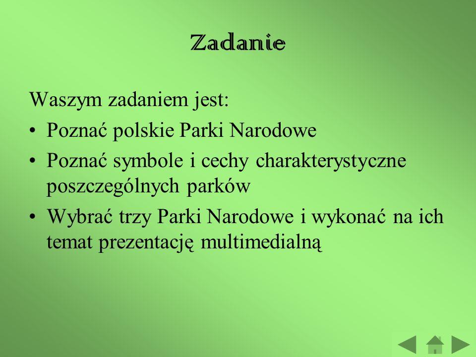 Zadanie Waszym zadaniem jest: Poznać polskie Parki Narodowe