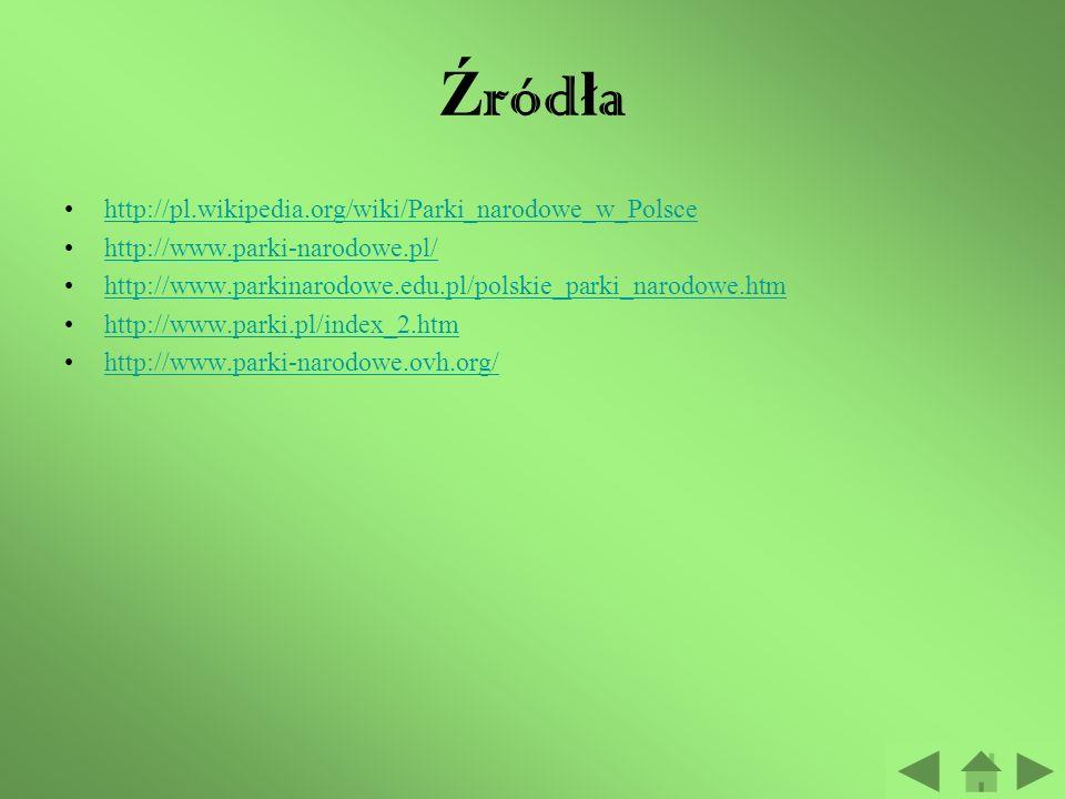 Źródła http://pl.wikipedia.org/wiki/Parki_narodowe_w_Polsce