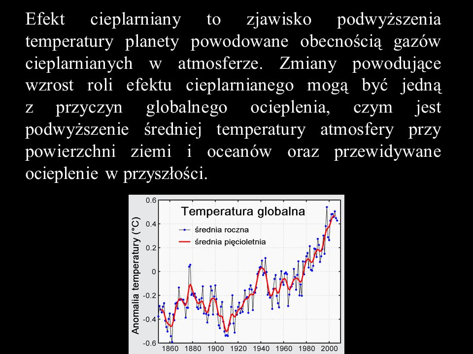 Efekt cieplarniany to zjawisko podwyższenia temperatury planety powodowane obecnością gazów cieplarnianych w atmosferze.