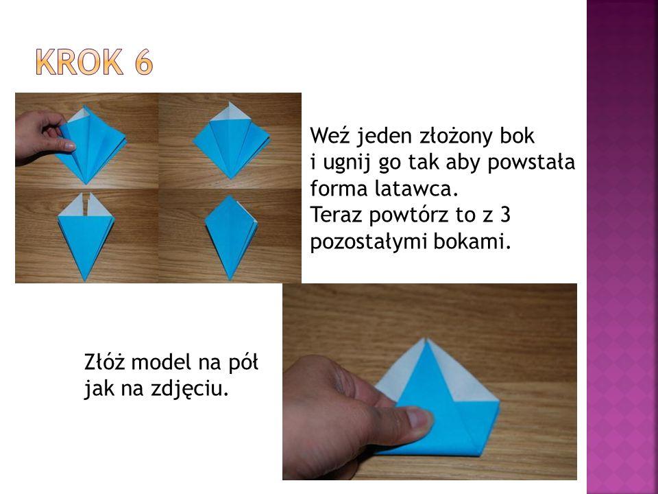 Krok 6 Weź jeden złożony bok i ugnij go tak aby powstała
