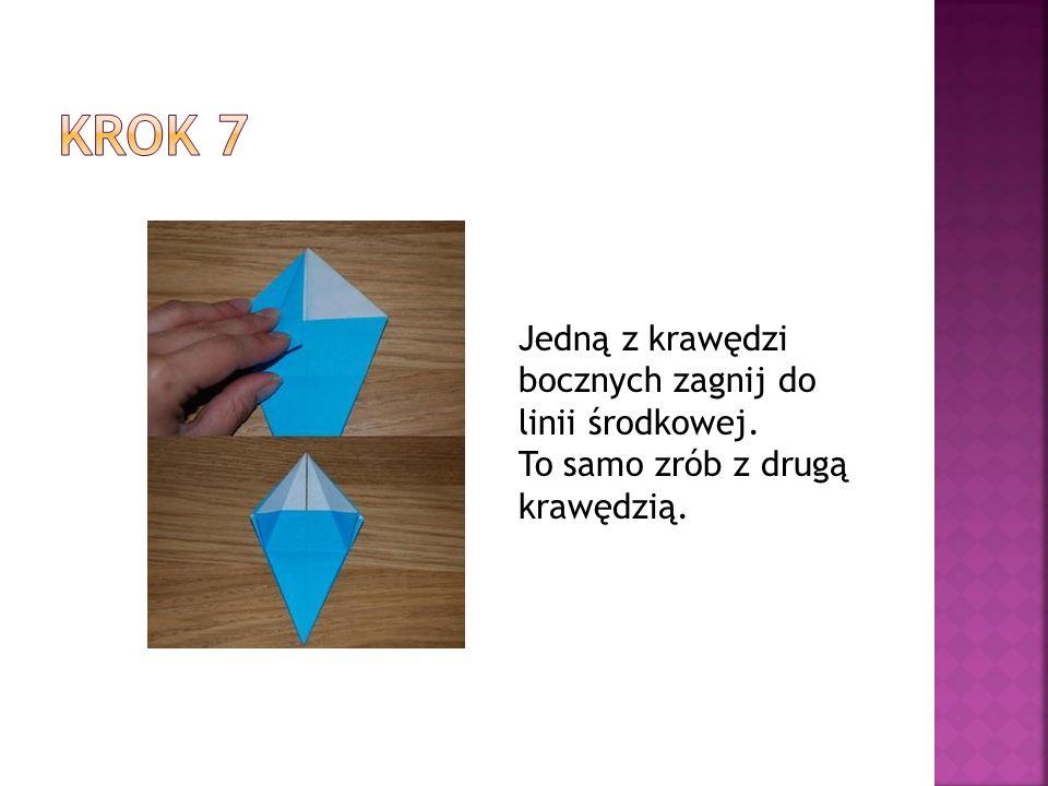 Krok 7 Jedną z krawędzi bocznych zagnij do linii środkowej.