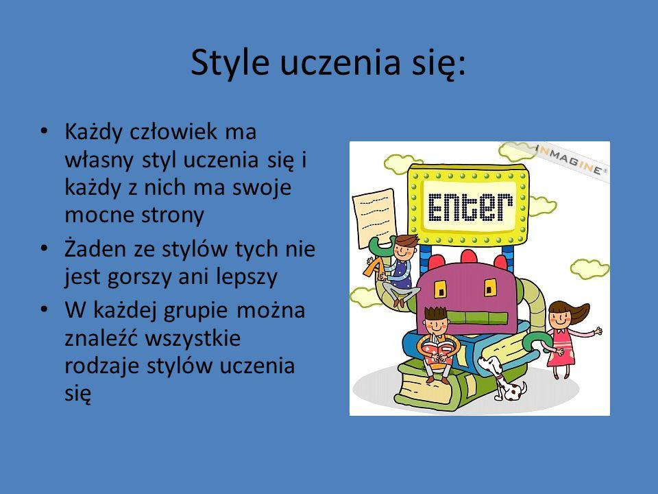Style uczenia się:Każdy człowiek ma własny styl uczenia się i każdy z nich ma swoje mocne strony. Żaden ze stylów tych nie jest gorszy ani lepszy.