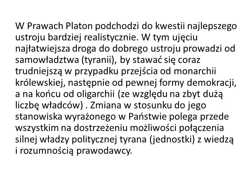 W Prawach Platon podchodzi do kwestii najlepszego ustroju bardziej realistycznie.