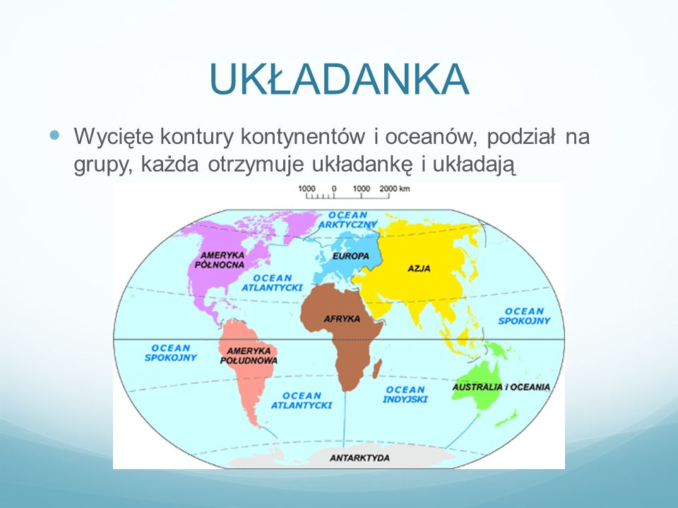 UKŁADANKA Wycięte kontury kontynentów i oceanów, podział na grupy, każda otrzymuje układankę i układają.