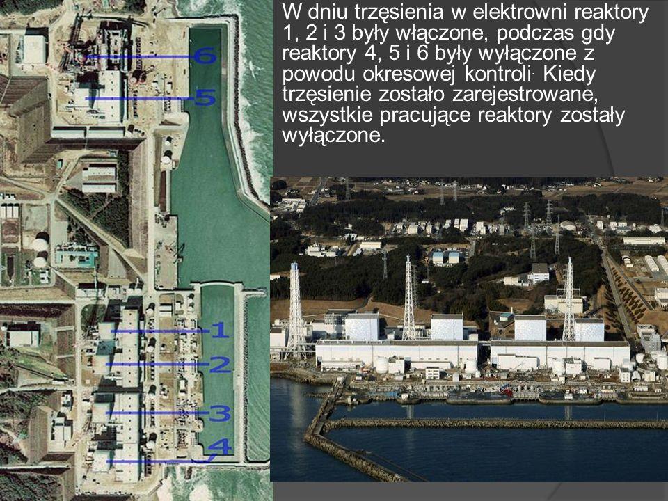 W dniu trzęsienia w elektrowni reaktory 1, 2 i 3 były włączone, podczas gdy reaktory 4, 5 i 6 były wyłączone z powodu okresowej kontroli.