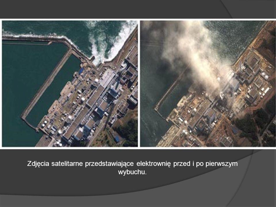 Zdjęcia satelitarne przedstawiające elektrownię przed i po pierwszym wybuchu.