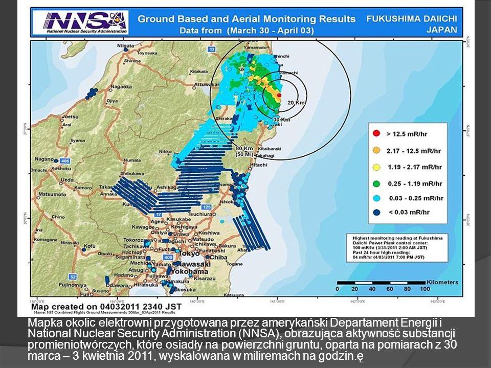 Mapka okolic elektrowni przygotowana przez amerykański Departament Energii i National Nuclear Security Administration (NNSA), obrazująca aktywność substancji promieniotwórczych, które osiadły na powierzchni gruntu, oparta na pomiarach z 30 marca – 3 kwietnia 2011, wyskalowana w miliremach na godzin.ę
