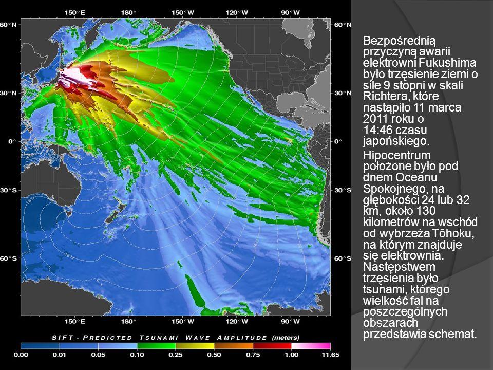 Bezpośrednią przyczyną awarii elektrowni Fukushima było trzęsienie ziemi o sile 9 stopni w skali Richtera, które nastąpiło 11 marca 2011 roku o 14:46 czasu japońskiego.