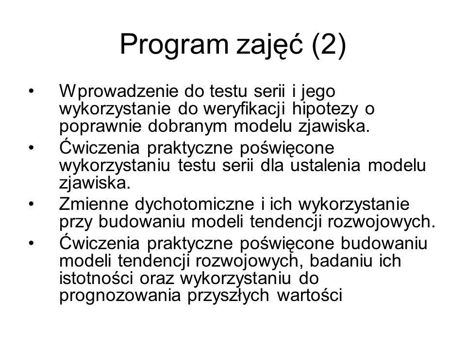 Program zajęć (2) Wprowadzenie do testu serii i jego wykorzystanie do weryfikacji hipotezy o poprawnie dobranym modelu zjawiska.