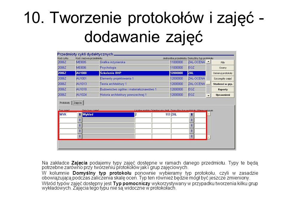 10. Tworzenie protokołów i zajęć - dodawanie zajęć