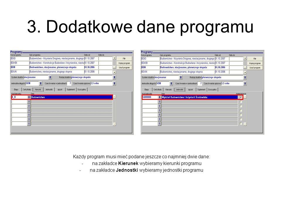 3. Dodatkowe dane programu